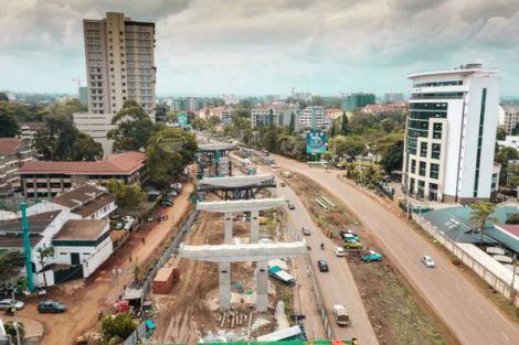 Nairobi Expressway under construction in Westlands, Nairobi