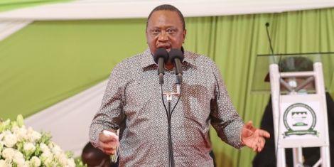 President Uhuru Kenyatta speaks at the funeral service of Mama Hannah Mudavadi at Mululu village in Vihiga County