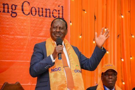 Raila Odinga addressing the National Governing Council on March 1, 2019.