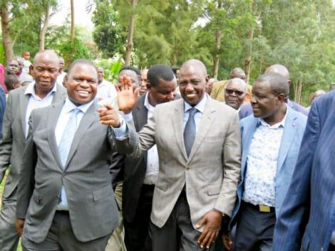 A photo of Deputy President William Ruto pictured alongside Kisii Deputy Governor Joash Maangi during a ceremony at the Gusii Stadium on May 30, 2019