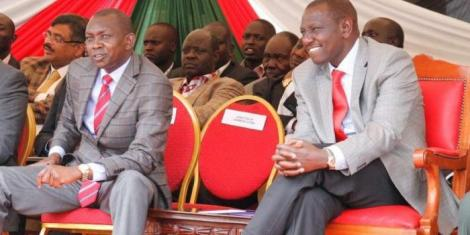 Kapseret MP Oscar Sudi (Left) and Deputy President William Ruto during a fundraising event in Eldoret in July 2017.