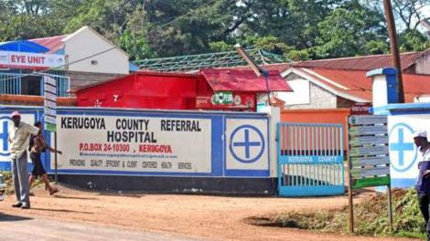 The main gate and entrance to Kerugoya County Referral Hospital