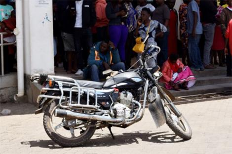 The motorbike Daniel Mburu was riding before the tragic incident at the Mama Lucy Kibaki Hospital