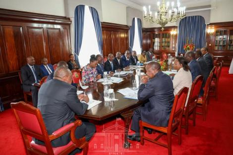 A photo of President Uhuru Kenyatta when he chaired a meeting with the National Emergency Response Committee on Coronavirus on Thursday, March 12, 2020.