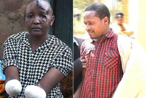 Jackline Mwende (left) and husband Stephen Ngila (right)