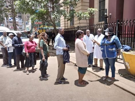 Ministry of Health officials conducting random screening for COVID-19 syptoms at National Archives Building, in Nairobi on Saturday, March 21, 2020.