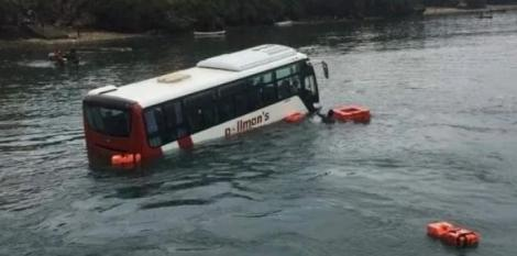 A bus plunged into the Indian Ocean on Sunday, January 10, 2020.