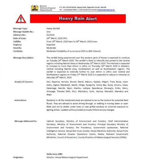 A heavy rains alert issued by the Kenya Meteorological Department on Tuesday, March 24, 2020.
