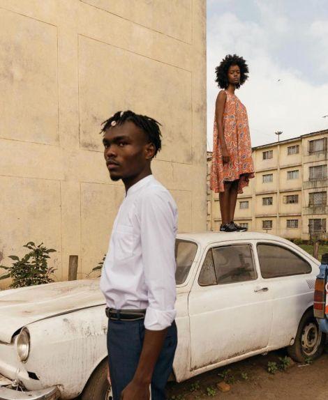 Models Ronald and Shekinah display Sam Omindo's brand in Kibera, Nairobi County.