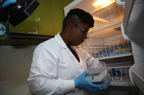 A scientist isolates wild poliovirus at the Kenya Medical Research Institute (KEMRI) in Nairobi on July 28, 2016.