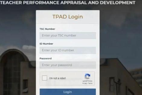 A screengrab of TPAD login
