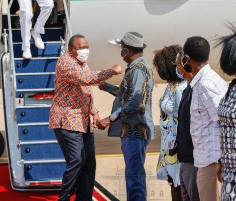 President Uhuru Kenyatta (left) arrived in Kisumu for a three-day working tour of Nyanza Region on May 30, 2021.