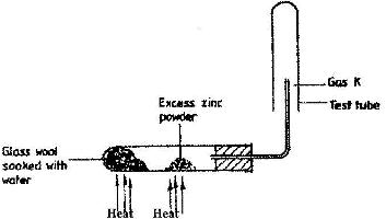 A student set up the experiment below to collect gas K