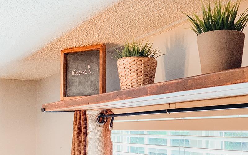 diy curtain rod shelf combo