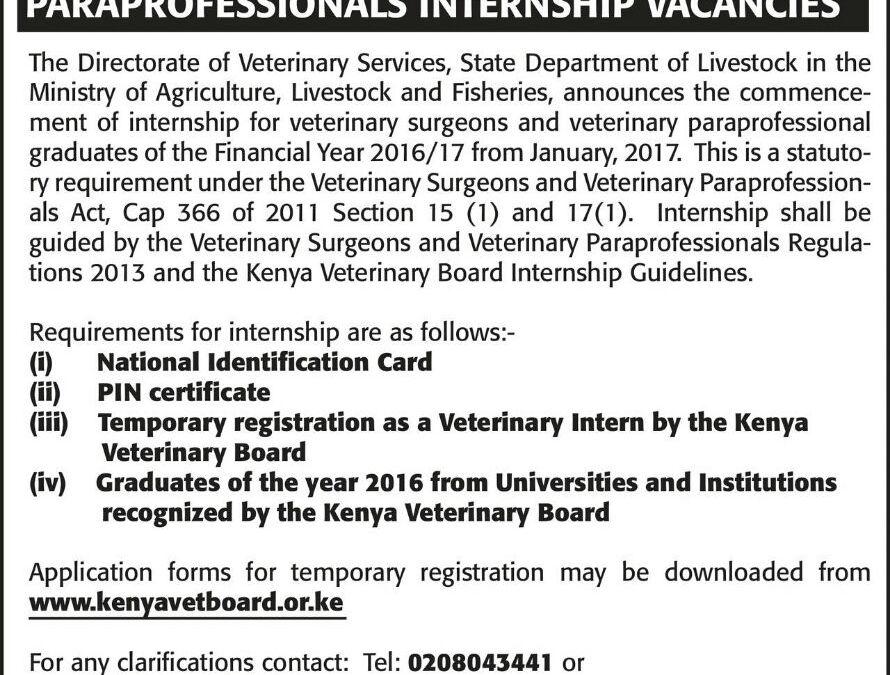 Internship : Graduate veterinary surgeons and paraprofessionals