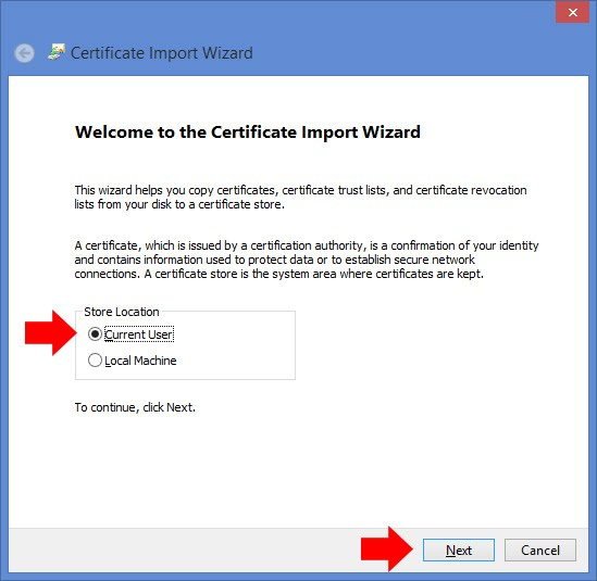 Installing SSL certificates for Internet Explorer and Chrome