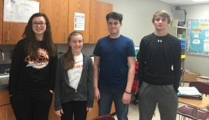 (L,R) MacKenzie Northup, Kendall Watson, Gabe Jones, & Drake Huffman. Future Problem Solvers.  They will compete in Ames on April 17th and 18th.