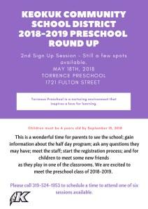2018-2019 Preschool Round Up