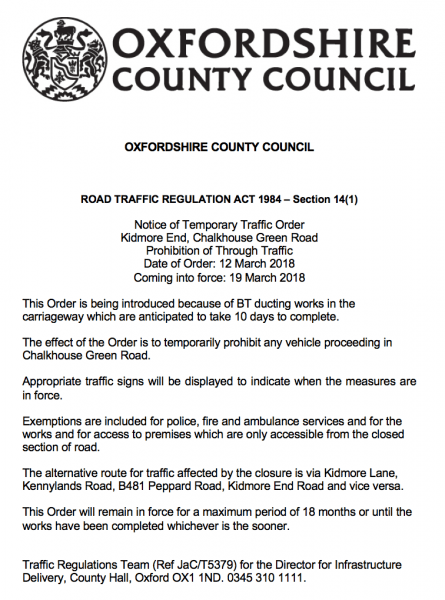 kidmore end chalkhouse green road closure march 2018