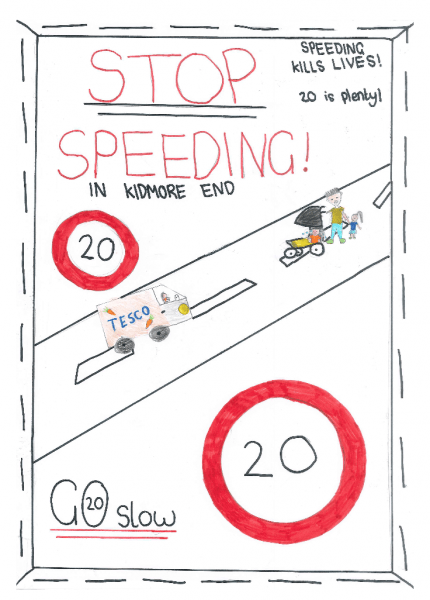 kidmore end school 20mph speed limit poster 2
