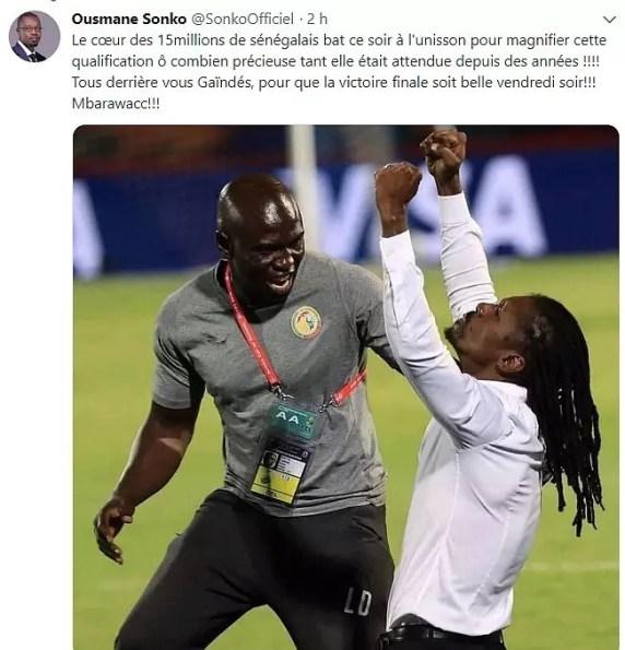 sonko twwet 288x300 Le message de Ousmane Sonko aux Lions de la Téranga