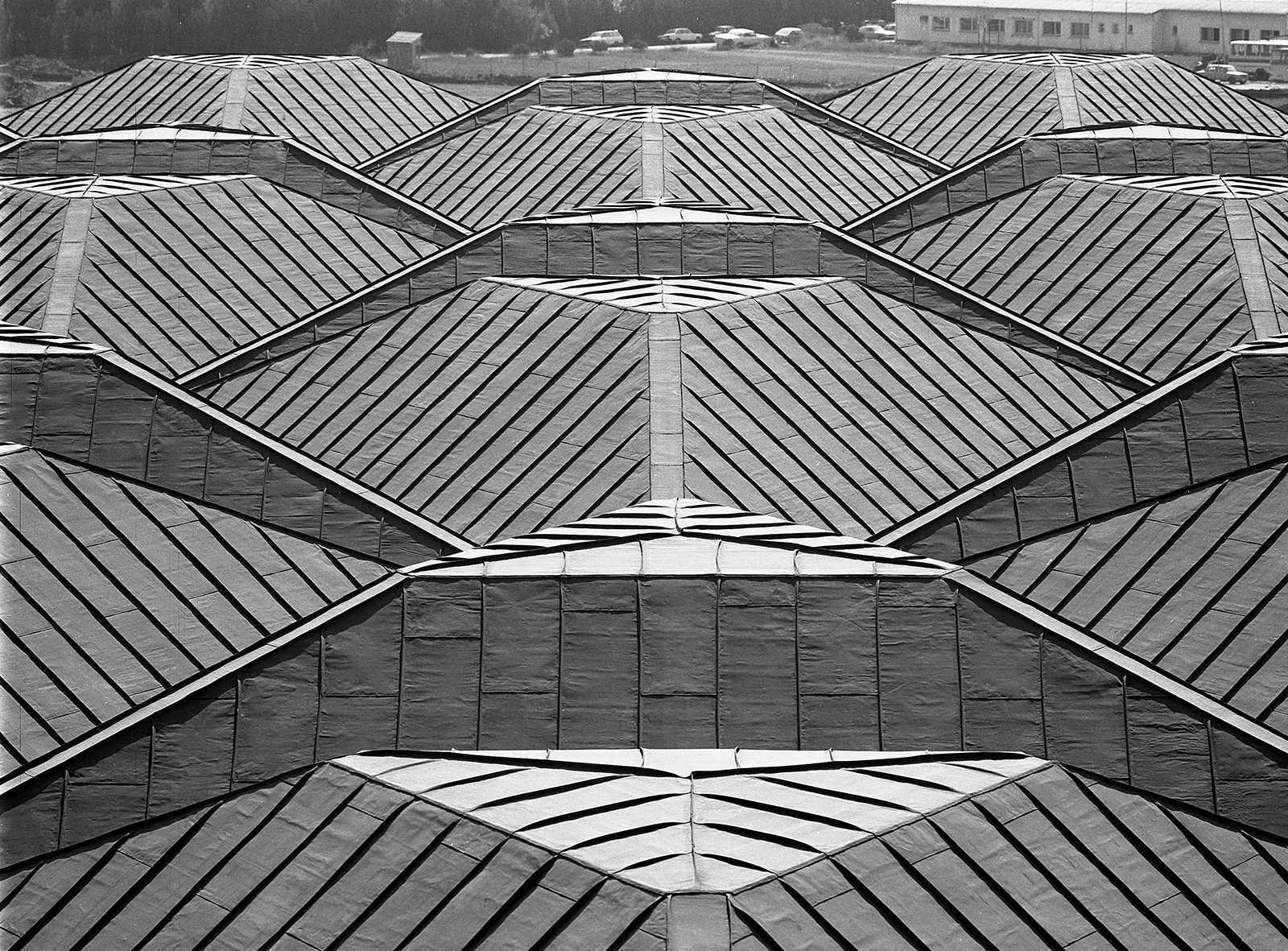 Yesilkoy Airport Terminal Roof, Hayati Tabanlioglu, 1991. Looking down from a high point on the axis of symmetry.