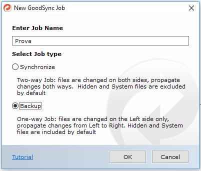 GoodSync - Crea job