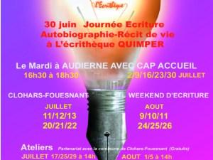 ateliers d'écriture et weekend  d'écriture été 2019 en Bretagne