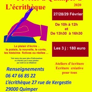 Stages Ateliers d'écriture Vacances de février 2020