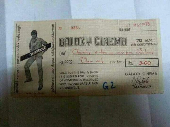 1975 cinema ticket kerala