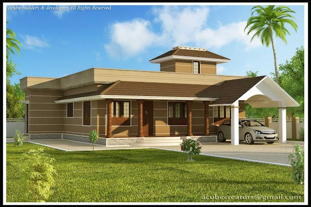 Kerala Home Design Single Story House At 1400 Sq Ft