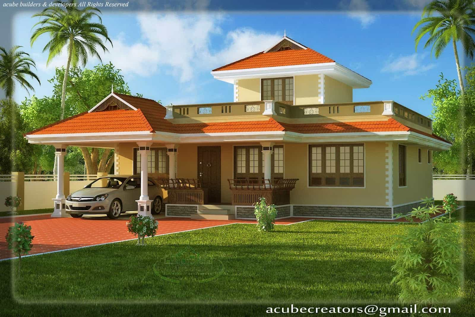 Kerala Style House Elevation At 1524 Sq Ft