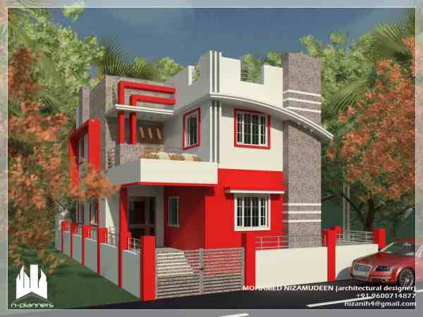 Contemporary Style House Design 1375 Sq.ft