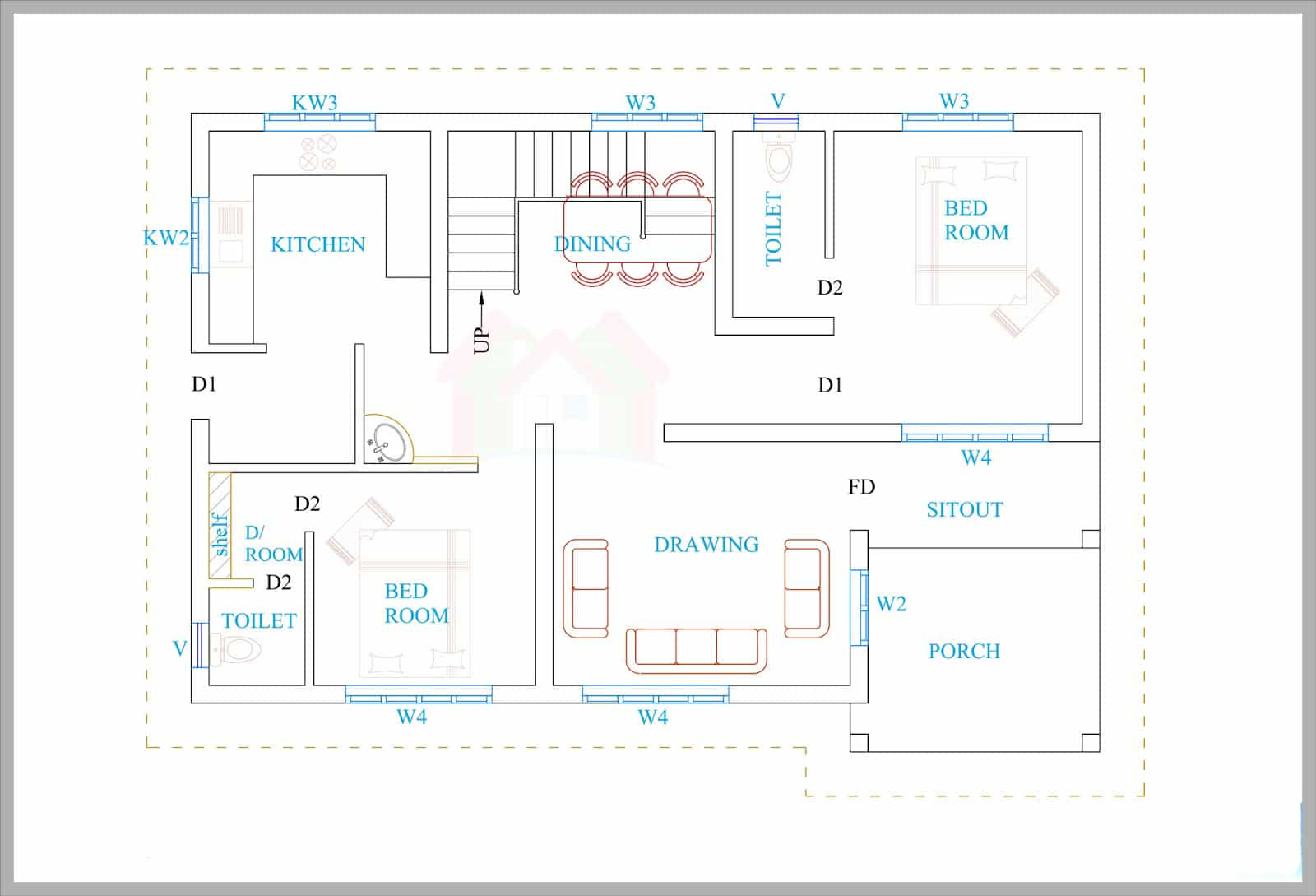 Kerala House Plans For A 1600 Sq Ft 3BHK House