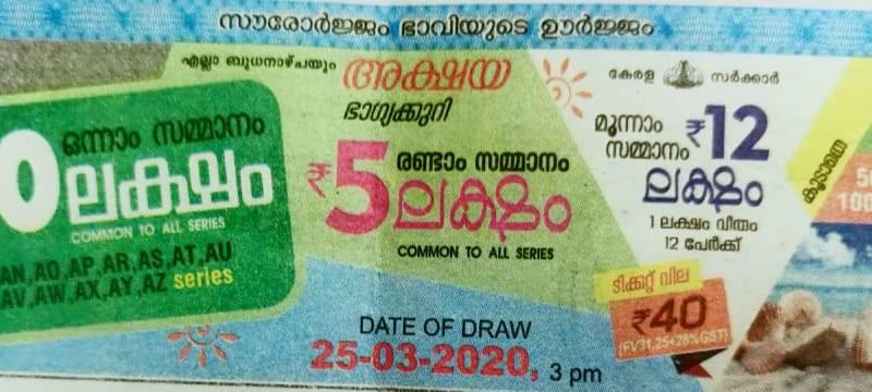 Akshaya Lottery AK-438 Results 25/03/2020 Kerala Lottery Result