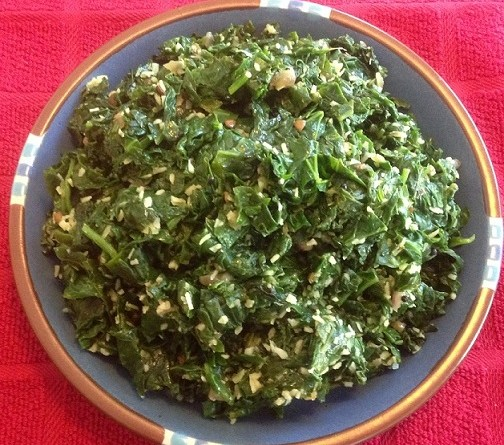 Spinach Thoran (Pan Roasted Fresh Spinach with Coconut)