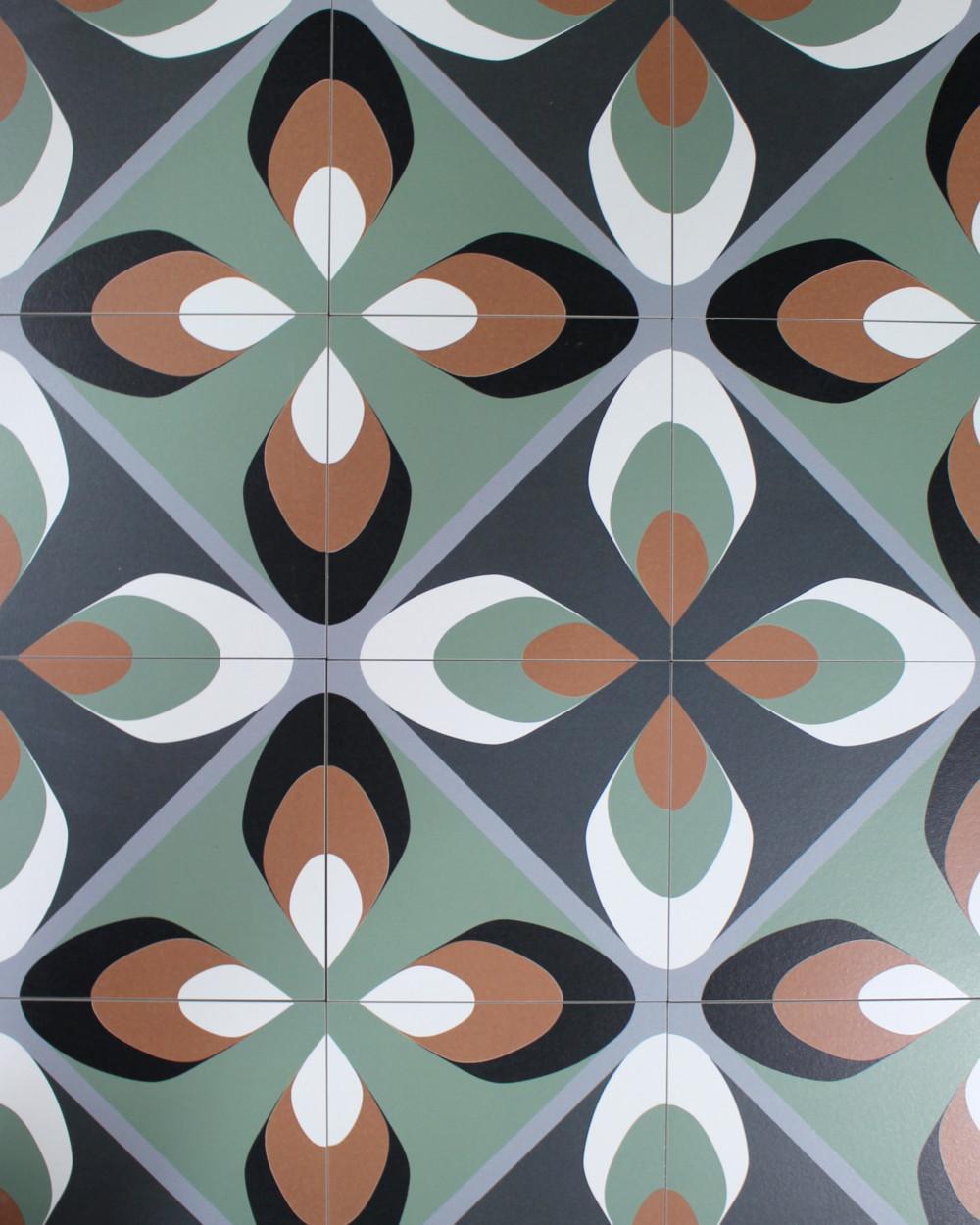vintage tiles with 70 s style leaf pattern tile online shop