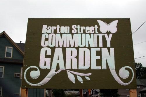 Barton Street Community Garden Sign