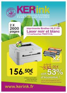 PACK imprimante Brother HL2130 + 2 cartouches d'encre toner TN2010XL