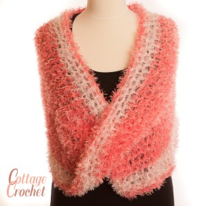 Pink and white infinity scarf