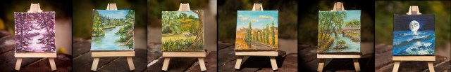 Selection of some of my 3 x 3 inch miniature acrylic paintings with easels