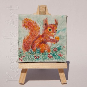 Red Squirrel Miniature Art