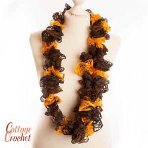 Yellow and brown ruffle sashay scarf