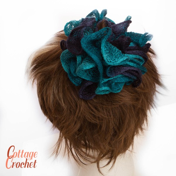 Blue Frilly Scrunchie