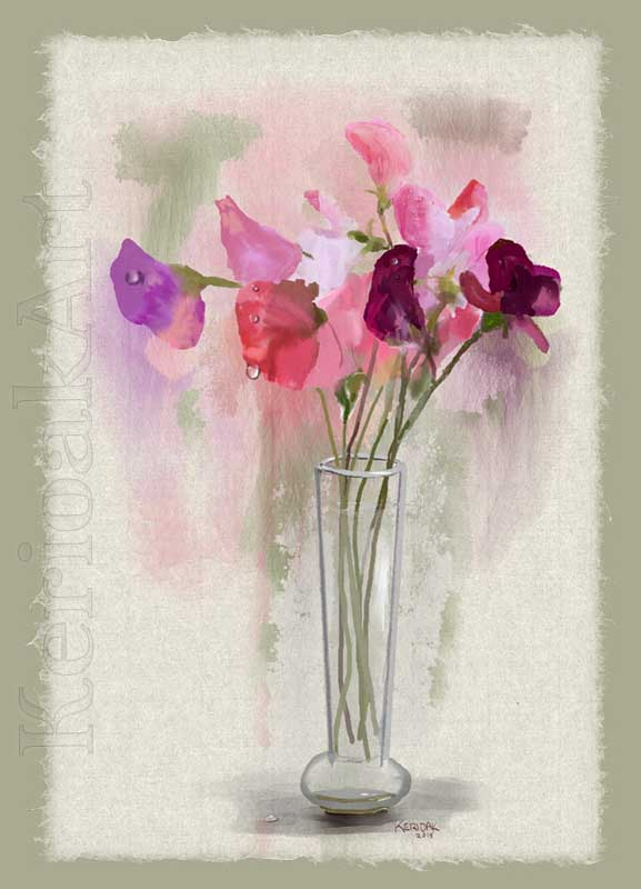 My first watercolour, Sweet Peas