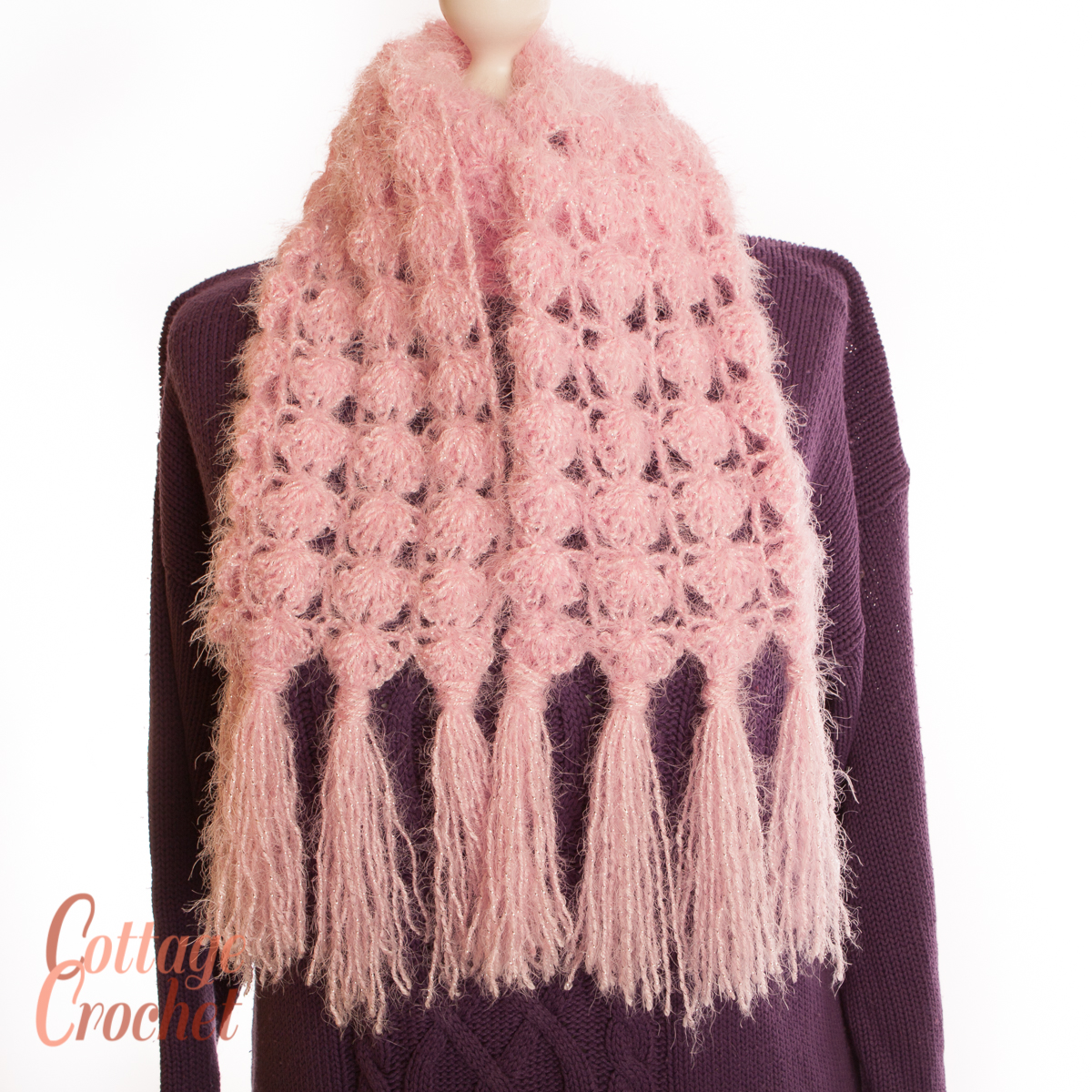 Soft Pink Scarf crochet in a fluffy yarn with a slight sparkle and