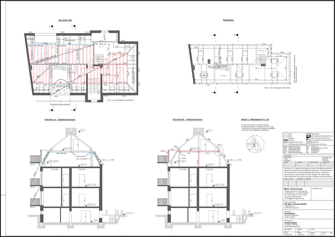 Positionsplan Des Dachgeschosses Hinterhaus Nr 26b Mit Den Erforderlichen Sanierungsarbeiten