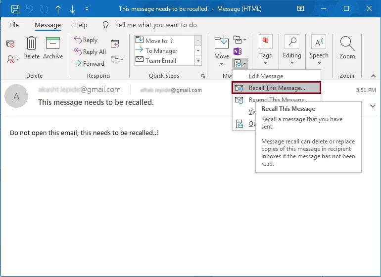 How to Recall Email messages in Outlook?