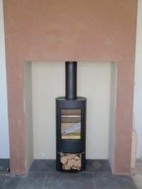 Scan 45 mini in a large fireplace wood burning stove
