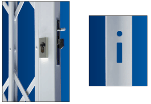 Folding grille hook bolt mechanism